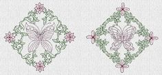 INSTANT DOWNLOAD Butterfly Quilt Blocks Redwork by embroiderygirl