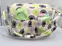 Doll size Diaper Bag in 'Geometrics in Green' with Gray and White Chevrons…