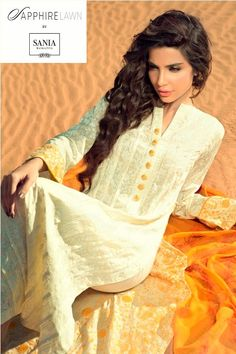 sana sarfaraz in Sapphire Lawn by Sania Maskatiya 2013 for Women Pakistani Couture, Pakistani Outfits, Indian Outfits, Pakistani Clothing, Pakistan Fashion Week, Desi Clothes, Indian Attire, Indian Wear, Fashion Wear