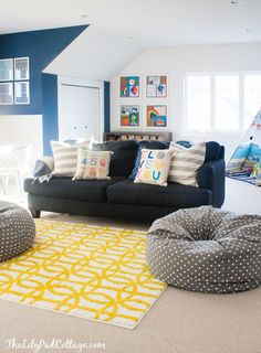 Colorful Playroom Decor and White Paint - The Lilypad Cottage