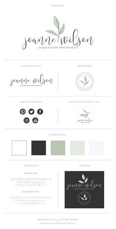 Mint Watercolor Logo Design Brand KitPhotography Logo
