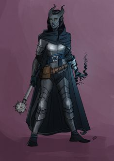 f Tiefling Fighter Eldritch Knight Plate Armor Cloak Mace casting female Traveler fog road Mountain pass undercity lg Fantasy Character Design, Character Design Inspiration, Character Concept, Character Art, Character Ideas, Concept Art, Tiefling Paladin, Tiefling Female, Dnd Paladin