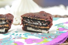 So, my husband had me Google these after a friend showed him one. ;) Oreo Peanut Butter Brownie Cakes