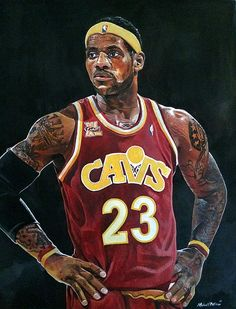 Lebron James Cleveland Cavaliers watercolor by Michael Pattison