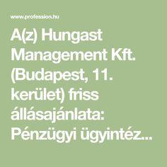 A(z) Hungast Management Kft. (Budapest, 11. kerület) friss állásajánlata: Pénzügyi ügyintéző állás, pénzügy, könyvelés területen. További több száz hasonló álláshirdetés a Profession.hu-n!
