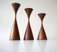 Rude Osolink Teak Candlesticks [These are really thin in the upper third. Definitely need to be careful when putting candles in these. Super design, though. Rudy Osolnik does fine work]