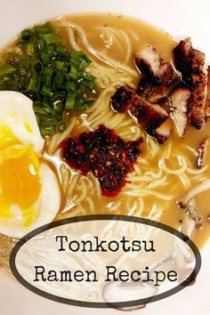 Tonkotsu Ramen Recipe Tonkotsu Ramen is my favorite Japanese food. This recipe takes time, but is actually very easy. Take your Ramen to the next level and enjoy homemade Ramen! Ramen Recipes, Asian Recipes, Cooking Recipes, Ethnic Recipes, Slow Cooking, Tonkatsu Ramen, Homemade Ramen, Homemade Recipe, Ramen Noodles