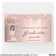 Shop Graduation party 2020 photo rose gold glitter drip banner created by Thunes. Pink Graduation Party, Graduation Banner, Grad Parties, Rose Gold Pink, Rose Gold Glitter, Party Wall Decorations, Gold Glitter Background, Personalized Banners, Congratulations Graduate
