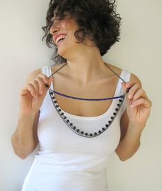 Blue Crystal Chain Necklace with Black Crystal Beads by FunFatale