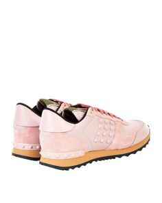 Valentino   Pink Rockrunner Leather Studded Sneaker   Lyst