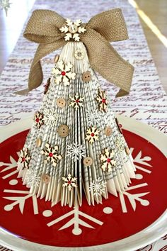 21 DIY Christmas Paper Decorations Old Book Christmas Trees from Cocoa Daisy Diy Christmas Paper Decorations, Book Crafts, Christmas Projects, Decor Crafts, Holiday Crafts, Christmas Ideas, Tree Decorations, Homemade Christmas, Tree Crafts
