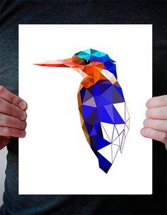 B62  Kingfisher  art print  Geometric  Bird art   by villavera