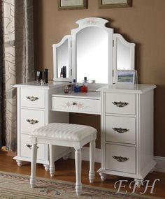 New Jezebell White Finish Wood Vanity Make Up Dressing Table Set w Mirror Bench