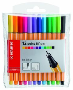 This miniature version of fineliner, features a smudge-proof, brilliant ink and .4mm metal tip in a compact pen. The Point 88 Mini Wallet features 12 pens ideal for a variety of uses, including drawin