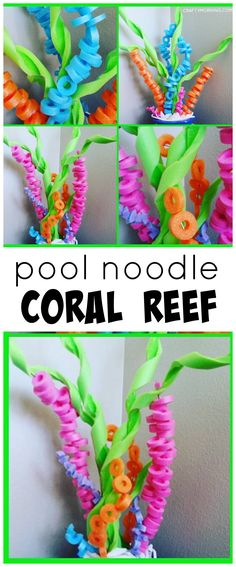 Pool noodle coral reef craft for an under the sea party with kids! #poolnoodlecrafts #coralreefcrafts #undertheseaparty #uniquecrafts #kidcrafts #funcrafts Unter Dem Meer Party, Pool Party Crafts, Beach Party Ideas For Kids, Beach Party Decor, Luau Party Ideas For Kids, Pool Noodle Crafts, Moana Birthday Party Ideas, Moana Birthday Decorations, Coral Decorations