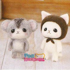 DIY handmade Wool Felt kit Little hamster and small white Cat -  Japanese kit package
