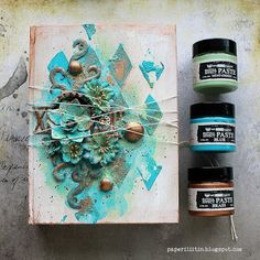 ・・・ Something I did with the Patina Paste set and Mixed Media Essentials both now available at Michaels! Mixed Media Journal, Mixed Media Canvas, Mixed Media Art, Mixed Media Techniques, Mixed Media Tutorials, Altered Canvas, Altered Art, Creative Crafts, Creative Art