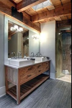Luxury canadian home reveals splendid rustic-modern aesthetic rustic master bathroom, rustic bathroom designs Rustic Master Bathroom, Rustic Bathroom Designs, Rustic Bathroom Vanities, Modern Farmhouse Bathroom, Rustic Bathroom Decor, Modern Bathroom Design, Modern House Design, Small Bathroom, Bathroom Ideas