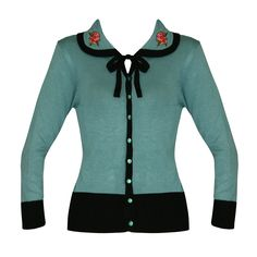 Banned-Womens-English-Rose-Fine-Knitted-50s-Retro-Rockabilly-Cardigan-Cardi-Top