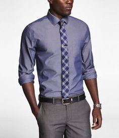 Non-Iron Fitted Spread Collar Chambray Shirt - Express Men Sharp Dressed Man, Well Dressed Men, Stylish Men, Men Casual, Men's Fashion, Gq Style, African Men Fashion, Professional Dresses, Men's Wardrobe