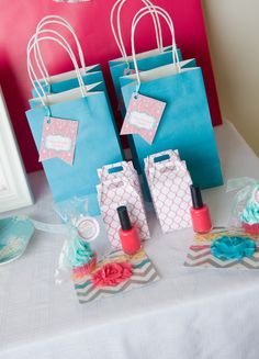 Spa favor bags #spa #partyfavors