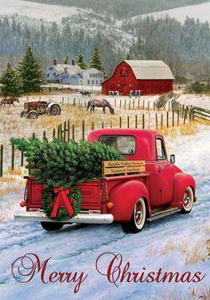 Custom Decor Original Art Garden Flag Christmas Truck MPN: 2939fm Size: 12 in x 18 in Material: 300 denier 100% polyester Fine Art Flags printed on 300 denier polyester for the best possible image rep