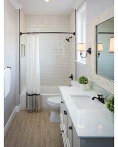 White & gray bath with black hardware