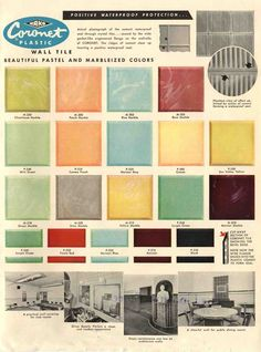 Yummy: Marbleized chartreuse plastic tiles -- now that is something to imagine! Via Retro Renovation