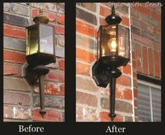 How to spray paint a light fixture. rustoleum oil rubbed bronze spray paint front light before after Primitive Homes, Primitive Country, Porch Lighting, Outdoor Lighting, Lighting Ideas, Rustoleum Oil Rubbed Bronze, Rustoleum Paint, Bronze Spray Paint, Outdoor Crafts
