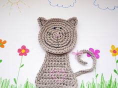 Grey Crochet Cat Coaster Animal Coaster 1 piece by MonikaDesign