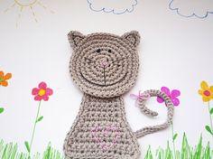 Grey Crochet Cat Coaster Animal Coaster 1 piece by MonikaDesign