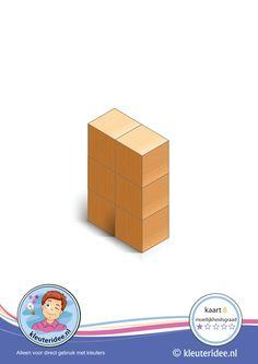 Nieuw 50 bouwkaarten: Bouwkaart 8 moeilijkheidsgraad 1 voor kleuters, kleuteridee, Preschool card building blocks with toddlers 8, difficulty 1