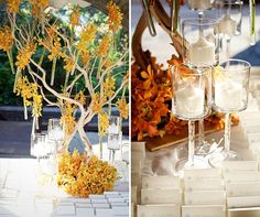 A tree strung with yellow orchids and surrounded with candles decorates the place card table.