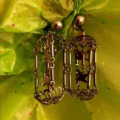 Antique earrings These are screw type earrings. 2 precious birds in a cage. Difficult to photograph exact color. Closer to 2nd pic Jewelry Earrings