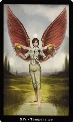 Temperance is like a juggling act, restraint to keep the senses from taking over, and yet having enough fire to go forth into the world.  Temperance - The Steampunk Tarot