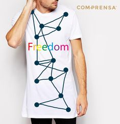 """T-shirt made in Portugal, with a round neck, a relaxed fit and short sleeves. Features a print """" FREEDOM"""", with the rainbow colours.  #manufacturer #barcelos #sweat #colours #tshirt #cotton #comprensa #fashion #model #fashion #design #company #textile #portugal #sublimation #screenprinting #digitalprint #laser #photoprint"""