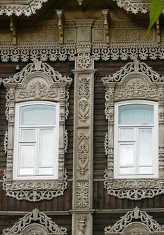 Wooden architecture of Russian North is one of the most remarkable forms of traditional Russian architecture. Traditional wooden houses in Russia are adorned with decorative trim around the windows and on the roof, porches, and gates, which served to protect house from evil spirits, maintain well-being, attract positive energy, and ensure fertile soil for farming. (Siberian windows)