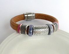 Natural color licorice leather bracelet with by TisziBeads on Etsy