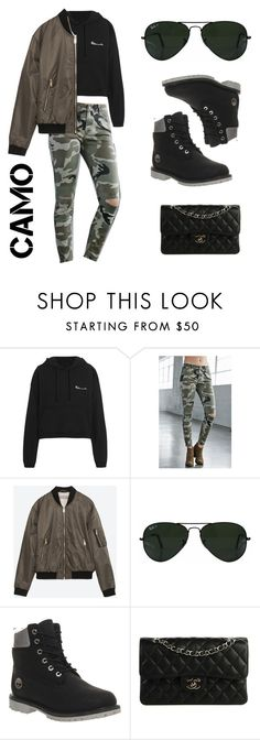 """""""Black with a touch of camo"""" by zunnetch ❤ liked on Polyvore featuring Vetements, Bullhead Denim Co., Zara, Ray-Ban, Timberland, Chanel and camostyle"""