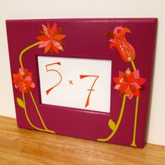 Magenta Frame with Pink and Orange Decoupage Collage Flowers by LaraLeib on Etsy