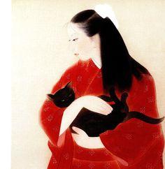 """猫と娘, 三谷十糸子.  """"Daughter and cat"""" by Mitani Toshiko (Japan, 1904-1992). Mitani Toshiko painted women exclusively, producing many vibrant portraits of Japanese females."""