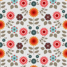 Retro flower pattern. By trois miettes on Flickr.