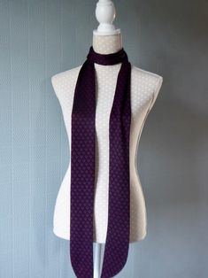 black and white skinny scarf polka dot mod tie long thin spotted sixties retro