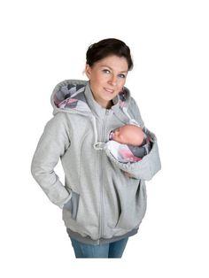 AXEL Babywearing jacket Maternity Pregnancy Multifunctional Kangaroo sweatshirt Mom and Baby,baby carrying XXL/XXXL Grey/Coral Pattern Sweat Shirt, Baby Carrier Jacket, Baby Carrying, Grey And Coral, Coral Pattern, Mom And Baby, Baby Baby, Jacket Pattern, Mom Outfits