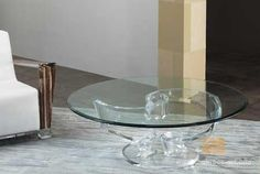 """ROTATION COFFEE TABLE BASE :-  Cast acrylic mixed drink table, 2 pieces twisted by hand and twisting into one another. Prescribed glass top is 48"""" round, however can hold additionally a 42"""" R or a 54"""" R glass.  For More Information : http://www.shahrooz-art.com/cat/cocktail_tables-R900"""