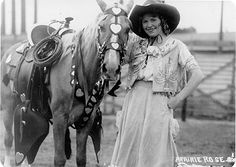 """Cowgirl Prairie Rose Henderson.....a cowgirl with amazing spirit....and """"sheekaroo"""" style...and look at that horse tack!!!!"""
