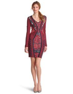 Bcbgmaxazria Women's Glynn Mixed Jacquard Pencil Dress, Redberry, Small