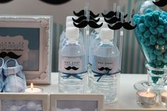 Blue; Silver; White and Mustache Birthday Party Ideas | Photo 3 of 19