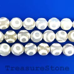 Bead, agate, white pattern, 10mm faceted round. 15-inch
