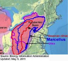 Map showing newly tapped Upper Devonian Shale, a layer a few hundred feet above the Marcellus in PA and OH